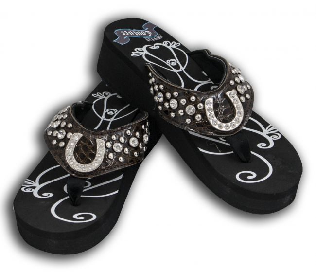 1de58e07e67b1 Ladies western bling flip flops with horse shoe conchos and snake print  band. These wedge style western ...