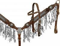 13119 metallic fringe headstall and breast collar