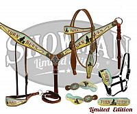 "10315E LIMITED EDITION  5 Piece Turn & Burn tack set.  This set features medium oil leather with "" Turn & Burn"" design."