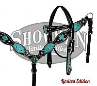 10323E LIMITED EDITION Tack Set. This set features smooth black leather that is accented with silver studs, crystal rhinestones and turquoise
