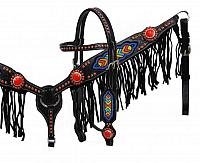 1404 Black leather headstall and breast collar set with multi colored beaded design