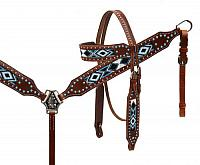 11041 beaded inlay headstall and breast collar