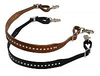 "11058 1.25"" wide leather wither strap with crystal studs"