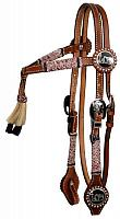12645 double stitched leather furturity knot rawhide braided headstall with horse hair tassell