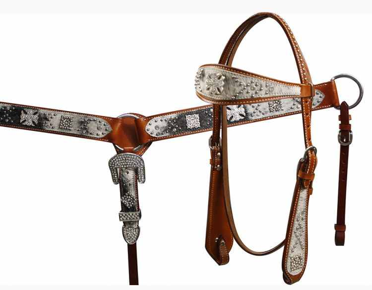 12671 double stitched leather headstall and breast collar set with hair on cowhide