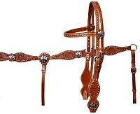 12679 double stitched leather silver beaded browband headstall and breastcollar set accented with silver crossed pistol conchos