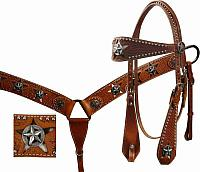 12681 wide leather basket weave tooled browband headstall and breastcollar set with cut out star hair on cowhide inlay.