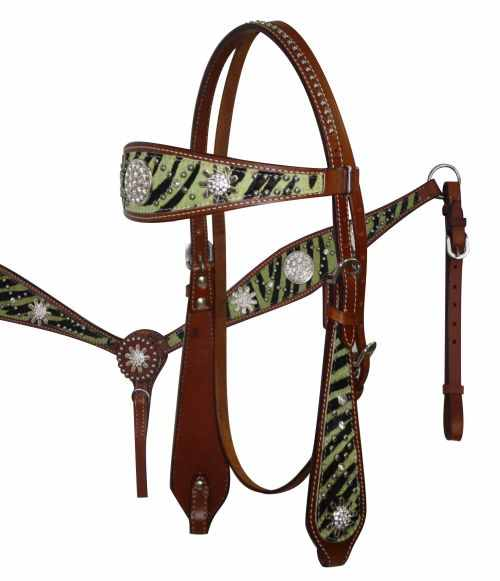 12685 Lime wide browband headstall and breast collar set with hair on zebra print