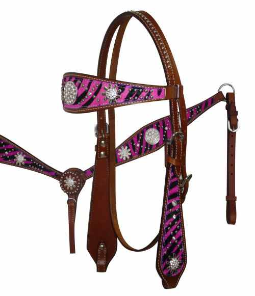 12685 Pink wide browband headstall and breast collar set with hair on zebra print