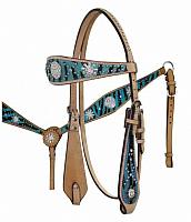 12685 Light Teal wide browband headstall and breast collar set with hair on zebra print
