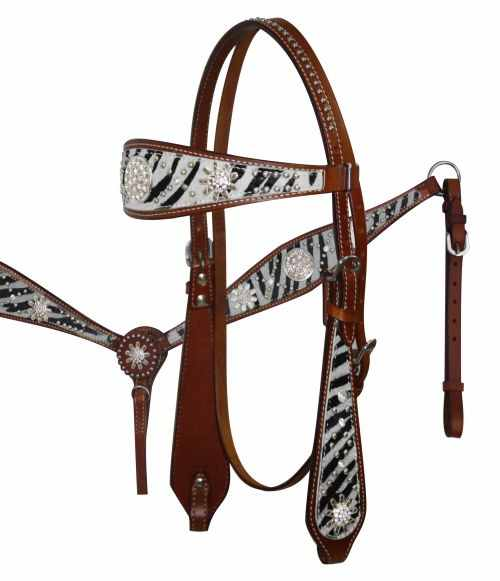 12685 White wide browband headstall and breast collar set with hair on zebra print.