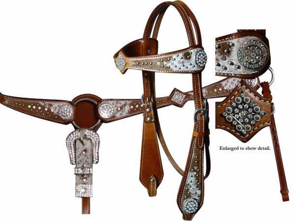 12692 headstall and breast collar set. Headstall features hair-on cowhide on a wide browband and cheeks