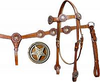 12705 Double Stitched Leather Headstall and Breastcollar Set with Brushed Nickel Engraved Cut-Out Texas Star Conchos