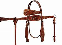 12707 Double Stitched Wide Browband Headstall with Cut-Out Praying Cowboy Inlay