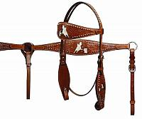 12709 Double Stitched Headstall and Breastcollar Set with Hair on Cowhide Barrel Racer Inlay