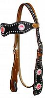 12726 Double stitched leather hair on cowhide headstall accented with crystal rhinestones and silver studs.