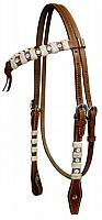 12727 Double stitched leather futurity knot headstall accented with rawhide braiding and crystal rhinestones.