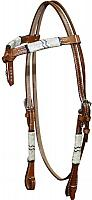 12731 Double stitched leather futurity knot headstall with rawhide braiding
