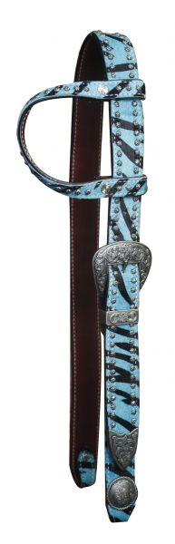12741 Belt Style One Ear Headstall with Hair on Cowhide Zebra Print