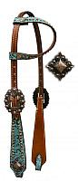12748 One Ear Headstall with Teal and Brown Filigree Print