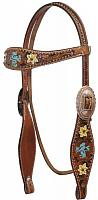 12772 Hand Painted Headstall with Filigree Cross Inlay