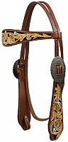 12773 Double Stitched Leather Painted Floral Tooled Headstall.