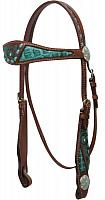 12778 Painted Headstall with Alligator Print