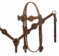 12976 Double Stitched Leather Vintage Cross Concho Headstall and Breast Collar Set