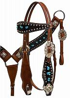 12809 Hair On Cowhide Headstall and Breast Collar with Turquoise Stones