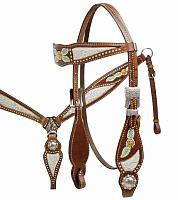 12813 Silver Filigree and Floral Painted Headstall and Breast Collar Set