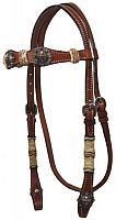 12821 Double Stitched Leather Headstall with Raised Cross Conchos and Rawhide Braided Accents
