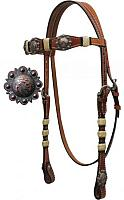 12822 Double Stitched Leather Headstall with Rawhide Braided Accents and Crossed Guns Conchos