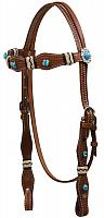 12826 Turquoise Stone Beaded Headstall with Rawhide Accents