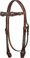 12827 Double Stitched Leather Headstall with Raised Barrel Racer Conchos and Rawhide Braided Accents.
