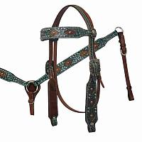 12828 Headstall and Breast Collar Set with Alligator Print Overlay and Hair On Cowhide Diamond Inlay