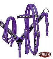 12846 Purple Pony size bling headstall and breast collar set