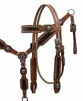 12849  Double Stiched Leather Headstall and Breast Collar with Alligator print and Copper Hardware
