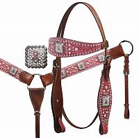 12857 Pink Ribbon Headstall and Breast Collar Set with Crystal Rhinestones