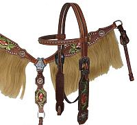 12871 Painted Tooling Headstall and Breast collar set with Horse Hair Fringe