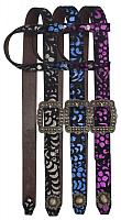 12892 One Ear Belt Style Leather Headstall with metallic paisley print