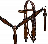 12905 Double stitched medium leather headstall and breast collar set with brushed copper accents