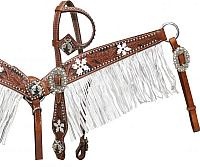 12914 Medium tooled leather headstall and breast coller with black color inlay and white painted flowers
