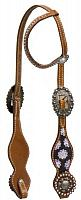 12919 One ear headstall with purple daisy inlay on cheeks