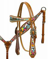 12935 Headstall and breast collar set with polka dot overlay