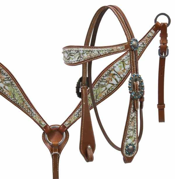 12937 Camo overlay headstall and breast collar set. Pink or Teal