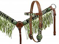 12945 Pony size metallic lime zebra print hair on cowhide fringe headstall and breast collar set