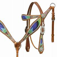 12965 Peacock feather headstall and breast collar set