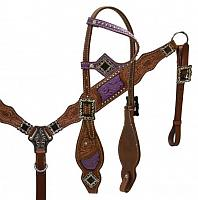 12968 Floral tooled headstall and breast collar set with purple inlay and antique hardware