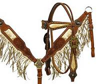12970 Argentina cow leather Gold fringe headstall and breast collar set with star conchos