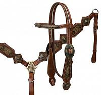 12978 snake print inlay headstall and breast collar set with antique brass plated hardware and star conchos